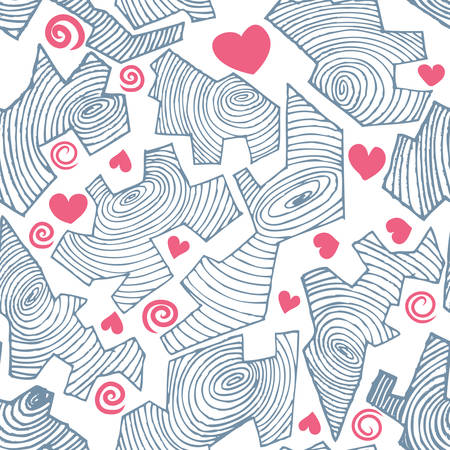 cracked circle line with love seamless pattern