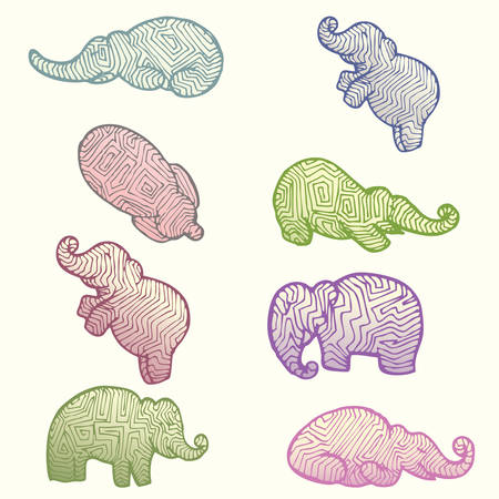 set of elephant in various color hand draw isolated on white