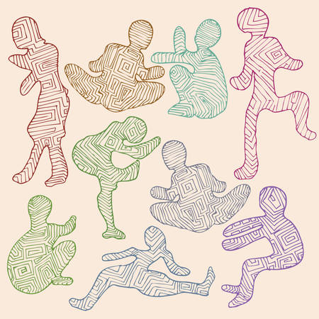 set of human silhouette in various pose