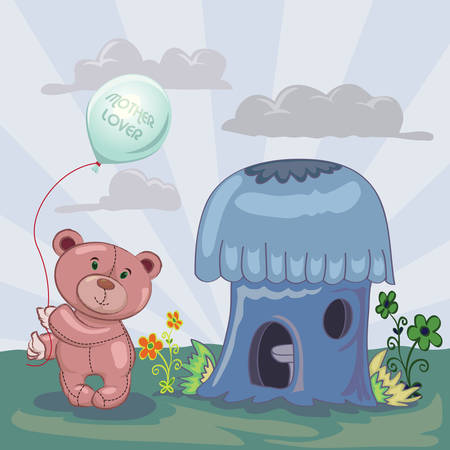 little bear holding balloon beside mushroom house