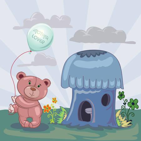 mushroom house: little bear holding balloon beside mushroom house