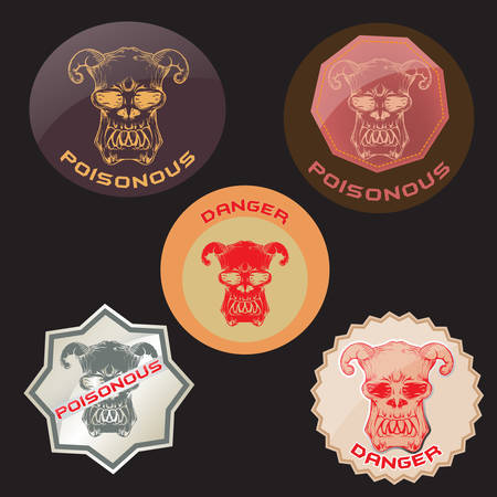set of poisonous label with skull and danger text