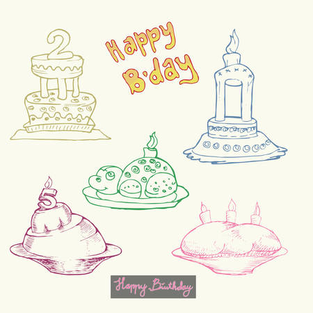 set of birthday cake hand draw outline