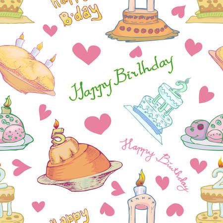 various of birthday cake seamless pattern