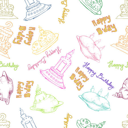 birthday cake seamless pattern hand draw illustration