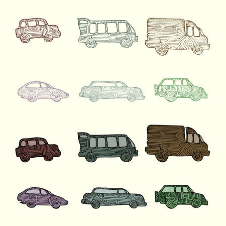 various car hand draw illustration isolated on light color Illustration