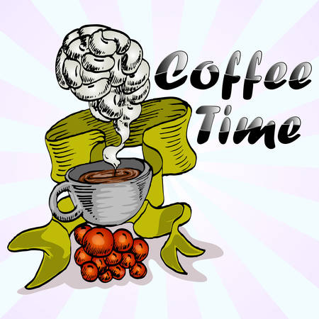 coffee time cartoon with ribbon and smoke hand draw illustration