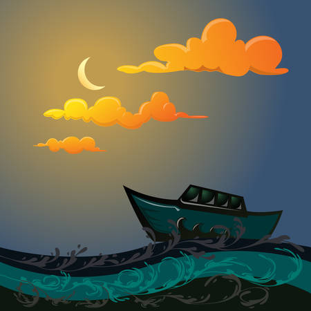 floating: ship floating on the sea under moonlight