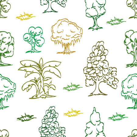 set of cartoon tree seamless pattern