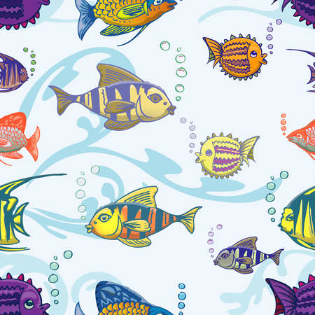 set of fish seamless pattern Illustration