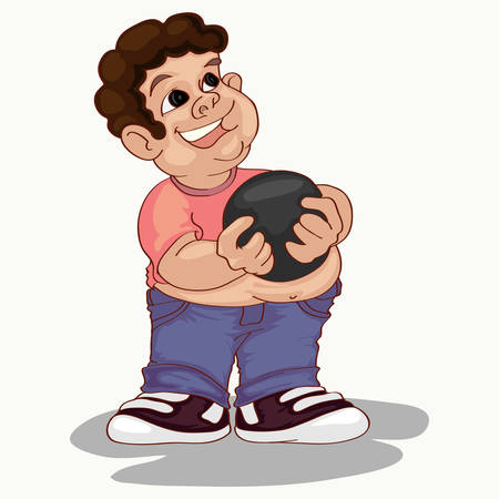 Fat boy holding bawling ball cartoon ilustration Stock Illustratie