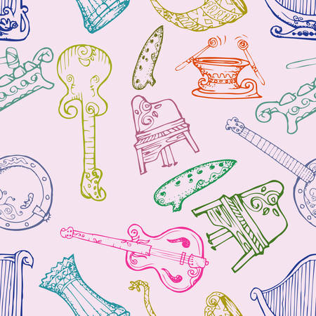 A music instrument seamless patter on colorful background.