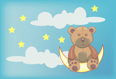 cute teddy bear sitting on moon cartoon illustration