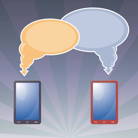 pair of tablet with bubble text Illustration