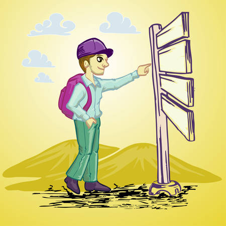 young traveler standing and pointing to information board Illustration