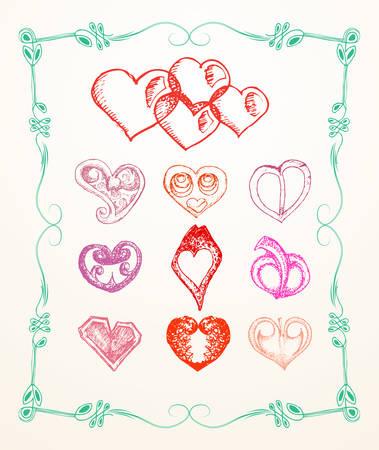 set of love icon in frame vector illustration