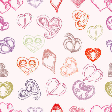 love shape seamless pattern vector illustration Çizim