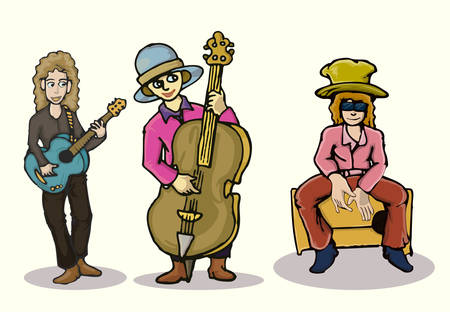 cartoon illustration of a group of musician isolated on white Çizim