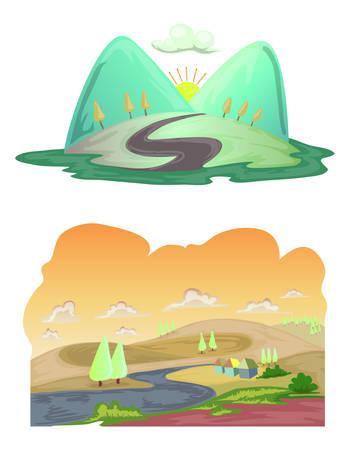 Cartoon illustration of landscape set isolated on white