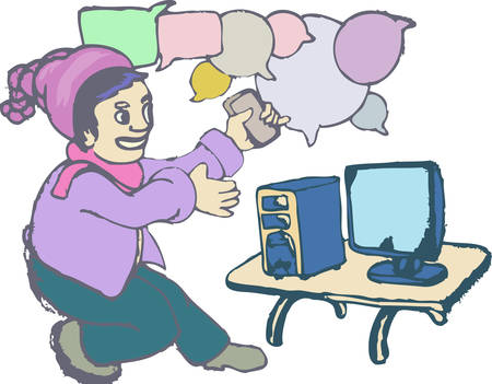 young man working on an old computer with bubble text cartoon illustration