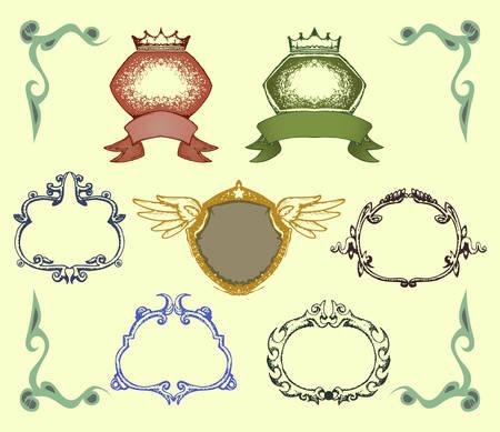 set of ornamental badge border isolated