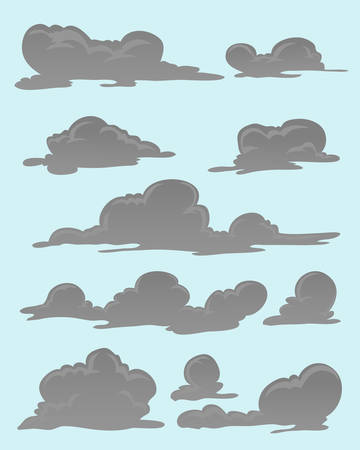 set of grey clouds isolated