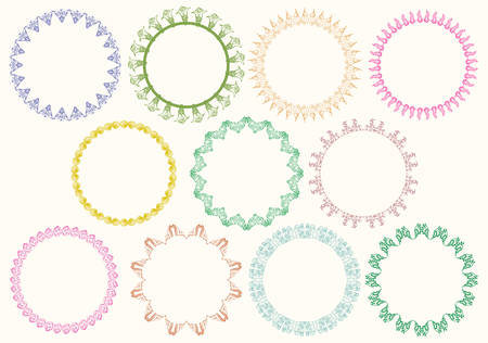 set of ornamental circle isolated on white