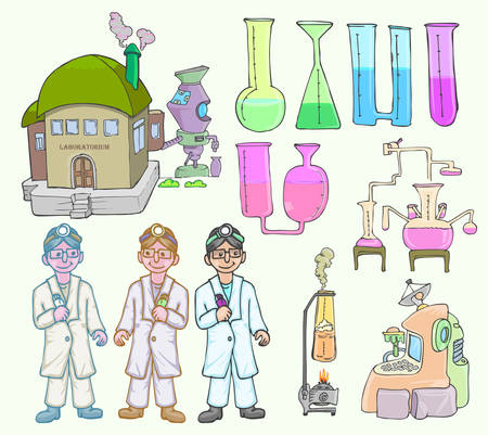 set of chemical and scientist isolated on white vector cartoon Çizim