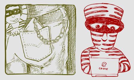 criminal character stealing wallet cartoon illustration