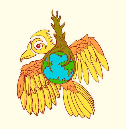 earth on flying bird for environmental symbol
