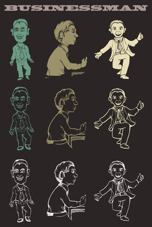 Cartoon of men in various pose isolated Çizim