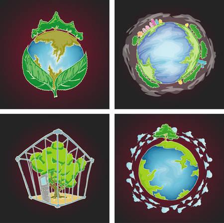 Set of earth environmental symbol