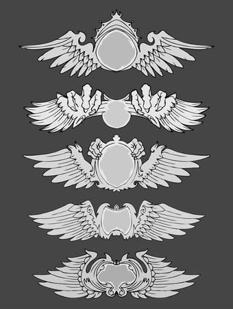 Set of wings vintage label isolated Çizim