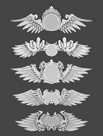 Set of wings vintage label isolated Illustration