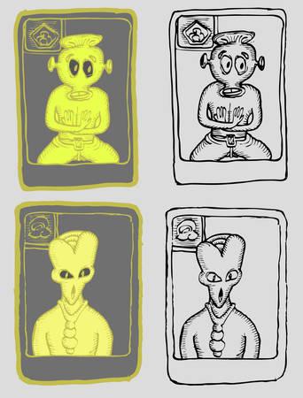 set of alien hand draw illustration