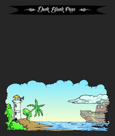 beach view with boat over the sea cartoon illustration on blank landing page Çizim