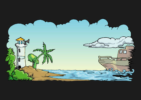 cartoon landscape of beach and boat over the sea