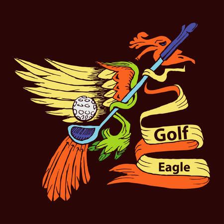 Aigle et symbole de dessin animé de bâton de golf