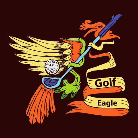 eagle and golf stick cartoon symbol