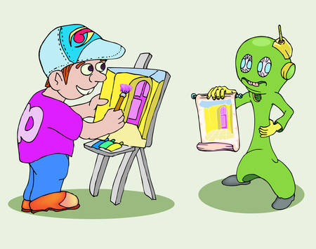 young painter with alien model cartoon illustration