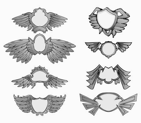 set of wings badge in silver color