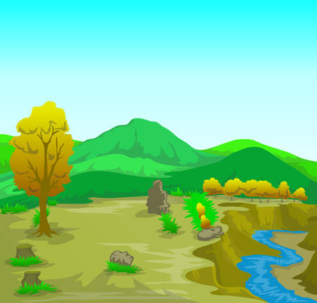 Vector landscape illutration with river and mountain view Çizim