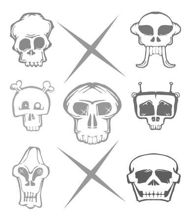 set of hand draw skull isolated on white cartoon vector