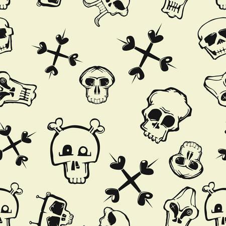 skull seamless pattern wallpaper vector illustration Çizim