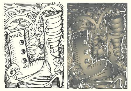 boot cartoon vector illustration