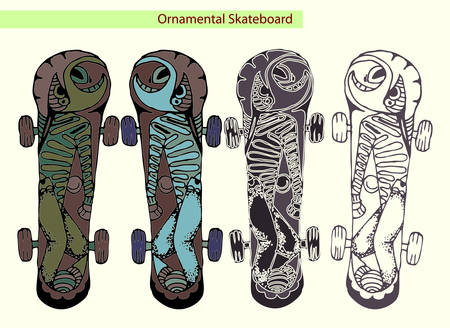 skateboard hand draw illustration isolated on white