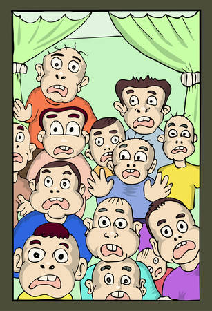 cartoon illustration of group of boys surprised 일러스트