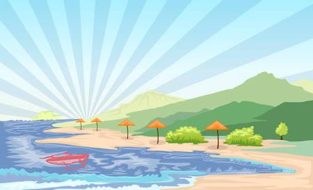 Tropical beach landscape vector illustration
