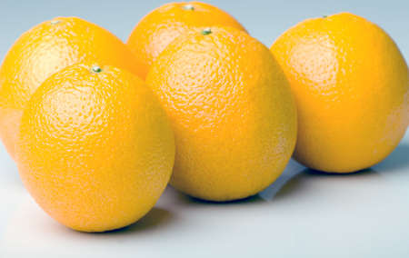 Bunch of fresh ripe juicy oranges isolated