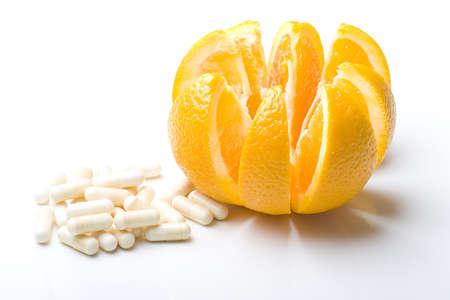 Fresh juicy delicious ripe isolated orange fruit sliced with vitamin C Zdjęcie Seryjne
